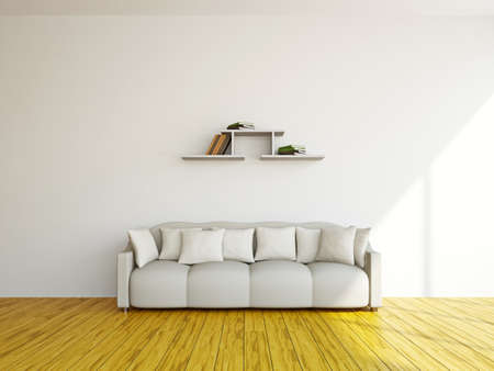 White sofa in the livingroom near the wall
