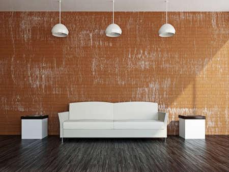 Livingroom with white sofa  near the wall Stock Photo - 17180573
