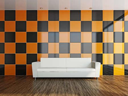 Livingroom with white sofa  near the wall Stock Photo - 17180549