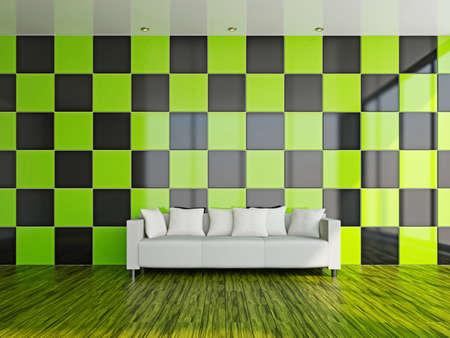 Livingroom with white sofa  near the wall Stock Photo - 17180554