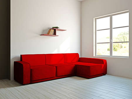 Red sofa in the livingroom near the wall photo