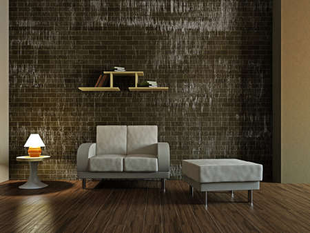 White armchair in the livingroom near the wall Stock Photo - 17180579