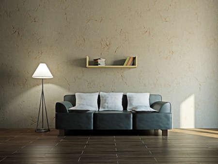 leren bank: Lederen sofa in de woonkamer in de buurt van de muur