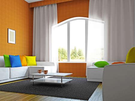 big windows: Гостиная с мебелью недалеко от больших окон
