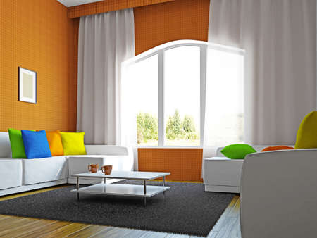 Livingroom with furniture near the big windows Stock Photo - 17180580