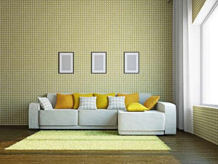 Livingroom with furniture near the big windows Stock Photo - 17180576