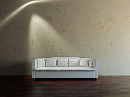 White sofa in the livingroom near the wall Stock Photo - 17180568