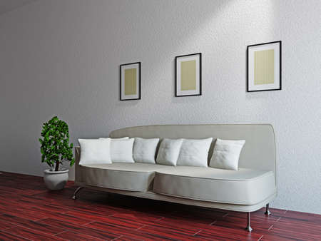 Livingroom with sofa and a plant near the wall Stock Photo - 17454521