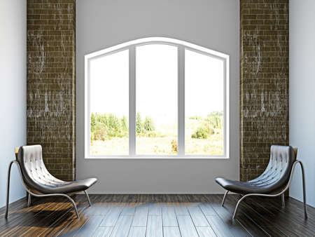 Room with two  chairs near the wall Stock Photo - 17454504