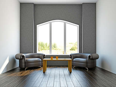 zen interior: Room with two  chairs near the wall Stock Photo