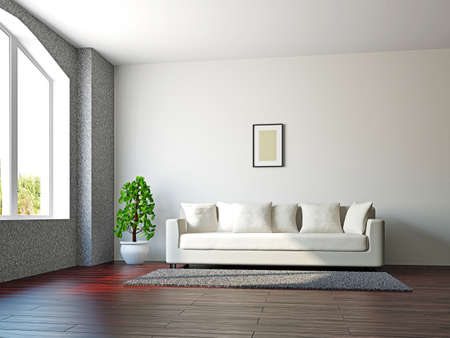 Livingroom with sofa and a plant near the window photo