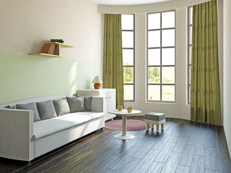 Livingroom with furniture  near the big window Stock Photo - 17454505