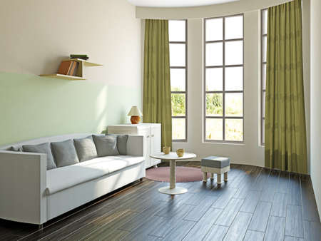 Livingroom with furniture  near the big window Stock Photo - 17454505