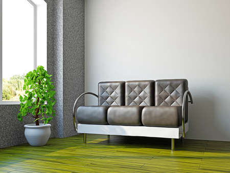 Livingroom with sofa  and a plant near the window Stock Photo - 17454508