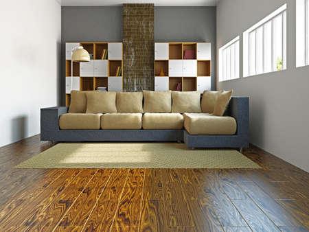 Livingroom with sofa and a shelf near the wall Stock Photo - 17454514