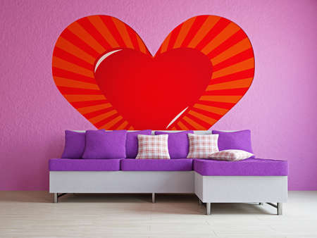 A romantic room with a sofa near the wall Stock Photo - 17439487