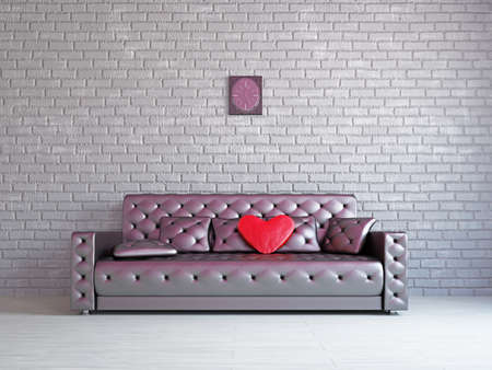 A romantic room with a sofa near the wall photo