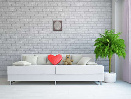 A romantic room with a sofa near the wall Stock Photo - 17439497