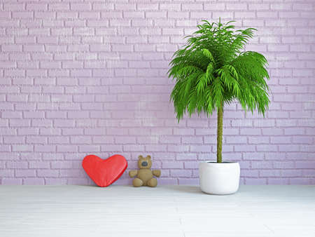 zen interior: A romantic heart and bear near the wall Stock Photo