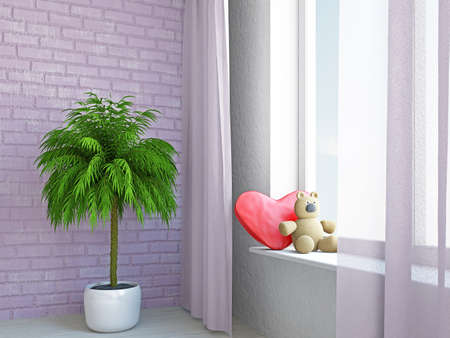 A romantic heart and bear on the sill Stock Photo - 17439492