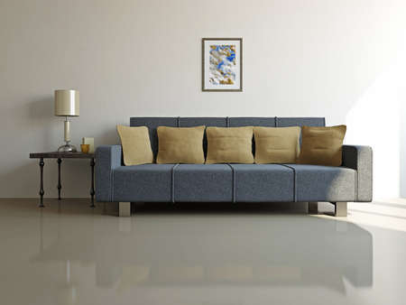 Livingroom with sofa  and a table near the wall photo