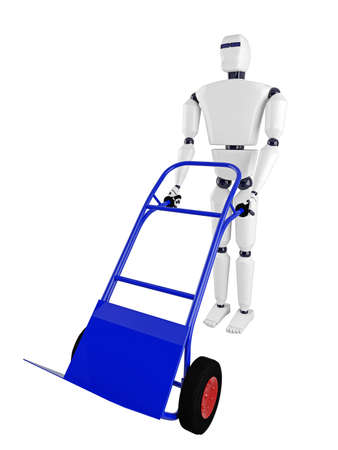 carretilla de mano: El robot y el carro de mano azul sobre un fondo blanco