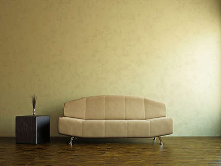 Yellow sofa in the livingroom near the wall Stock Photo - 17742765