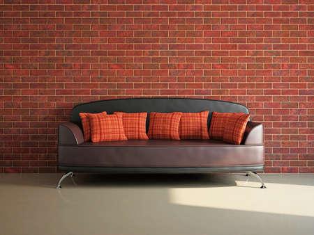 divan: Sala de estar con sofá cerca de la pared de ladrillo Foto de archivo