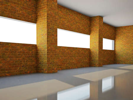 Empty hall  with brick wall and a window photo