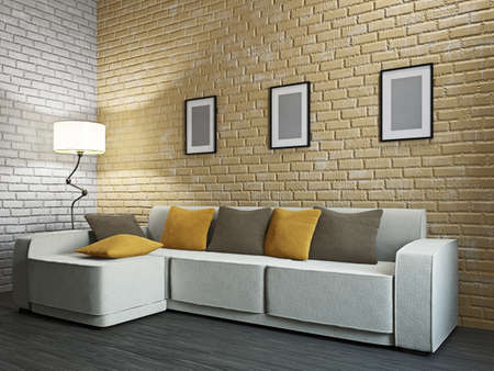 Livingroom with sofa and a lamp near the wall Stock Photo - 17742794