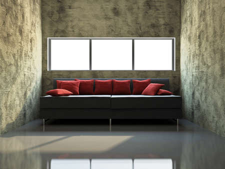 Livingroom with sofa  near the old wall Stock Photo - 17742777