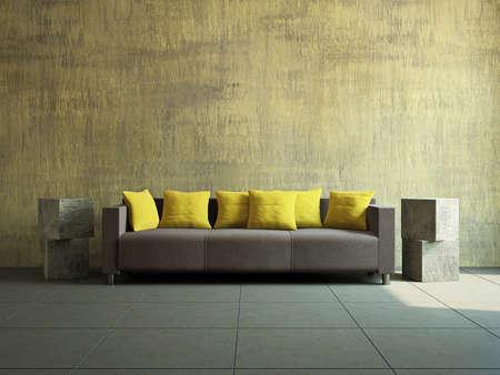 divano: Soggiorno con divano vicino al vecchio muro
