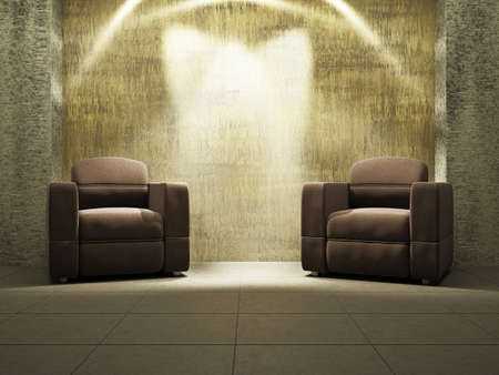 Livingroom with armchairs near the old wall Stock Photo - 17742798