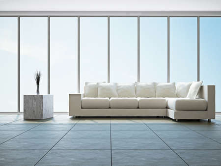 zen interior: Livingroom with sofa  near the big window