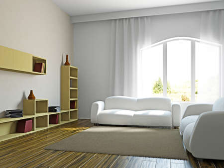Livingroom with two  sofas  near the window Stock Photo - 17742800