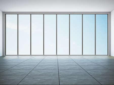 window repair: The empty room with big panoramic window