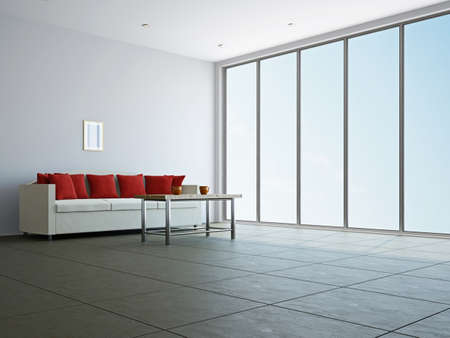 Livingroom with sofa  and a table near the window Stock Photo - 17742805