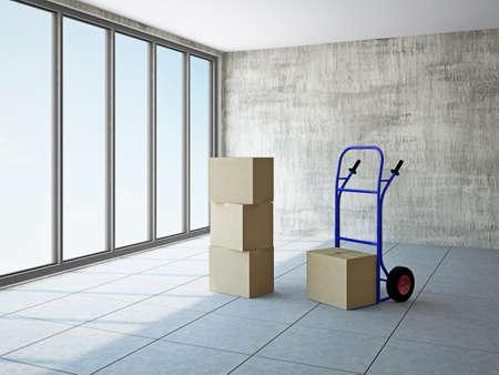 carretilla de mano: Habitación vacía con cajas y carretilla de mano cerca de la ventana