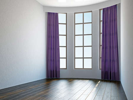 Empty room with curtains and a windows Stock Photo - 17858770