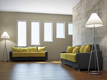 Livingroom with sofas  near the brick wall Stock Photo - 17858769