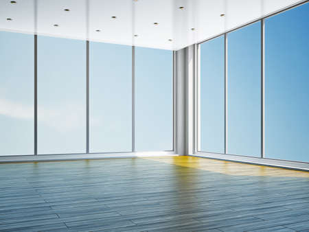 commercial construction: The empty room with big panoramic window