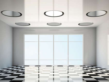 The empty room with big panoramic window Stock Photo - 17858778