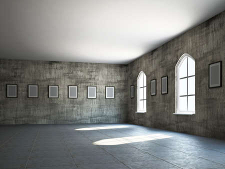 The old gallery with empty wooden frames photo