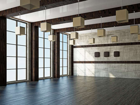 architectural styles: Empty room with old wall and a windows Stock Photo