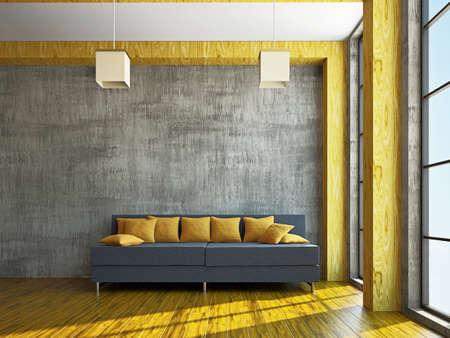 zen interior: Livingroom with sofa  near the window