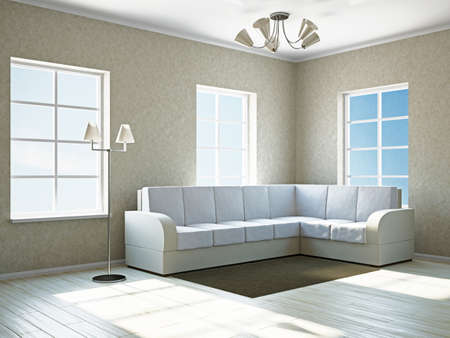 Livingroom with white sofa  near the windows Stock Photo - 17967218