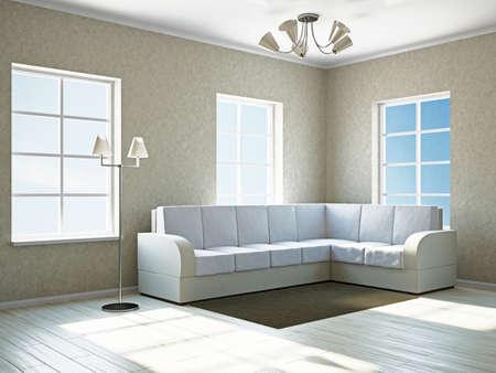 Livingroom with white sofa  near the windows