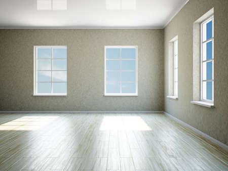 The empty big room with four windows Stock Photo - 17967222