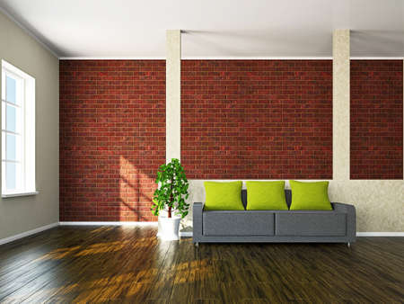 Room with sofa and a plant near the window Stock Photo - 17967224