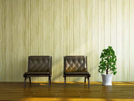 Room with two chairs near the wall Stock Photo - 17967232